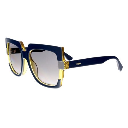 Fendi FENDI 0062/S 0MTW EU Blue Gray Square Sunglasses (Fender Clothing)