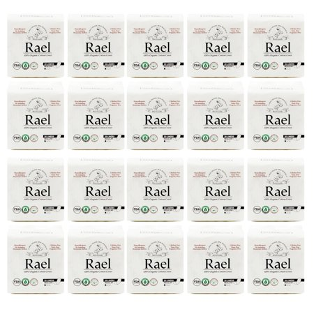 (20 Pack) Rael 100% Organic Cotton Panty Liners Value Bundle, Regular, 20 Count (Liners Value Pack)