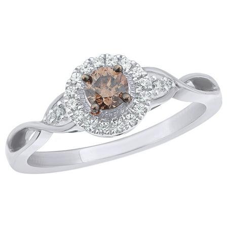 Champagne & White Natural Diamond Frame Vintage Style Twist Ring in 10k White Gold (White Diamond Twist Ring)