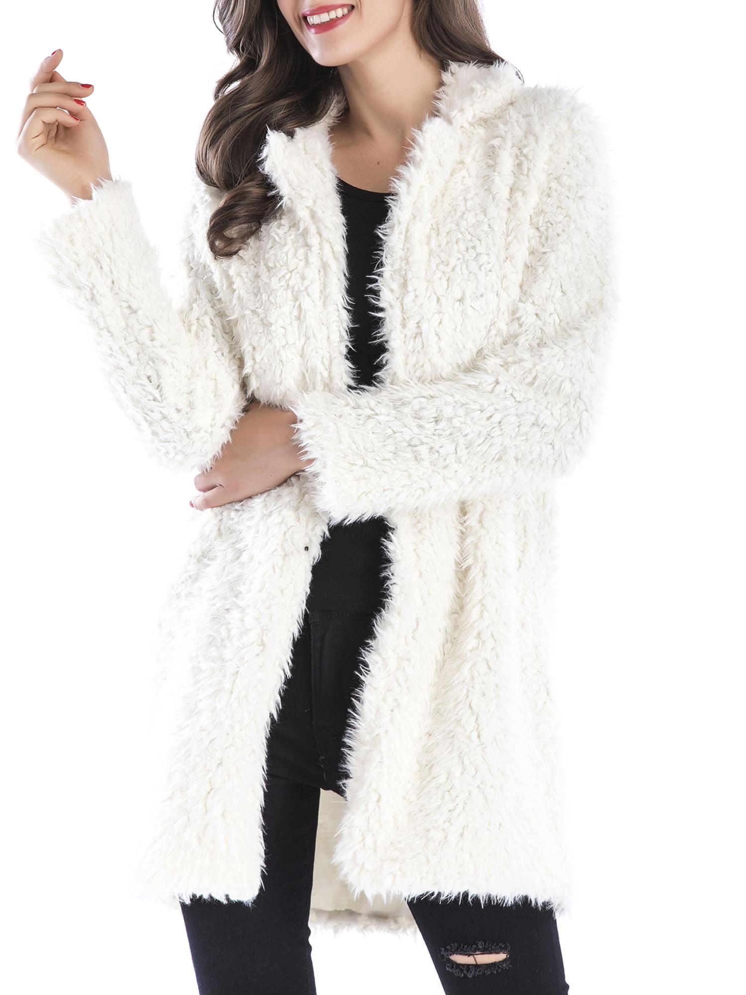 Womens Fuzzy Fleece Lapel Open Front Long Cardigan Coat Faux Fur Warm Winter Outwear Jackets with Pockets