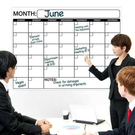 Large Dry or Wet Erase Laminated Monthly Wall Calendar -