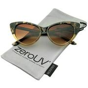 zeroUV - Women's Retro Oversized High Point Cat Eye Sunglasses 55mm - 55mm
