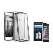 BasAcc Clear Crystal Hard Case Cover with Black TPU Bumper for Apple iPhone 7 (+ Clear Screen Protector)