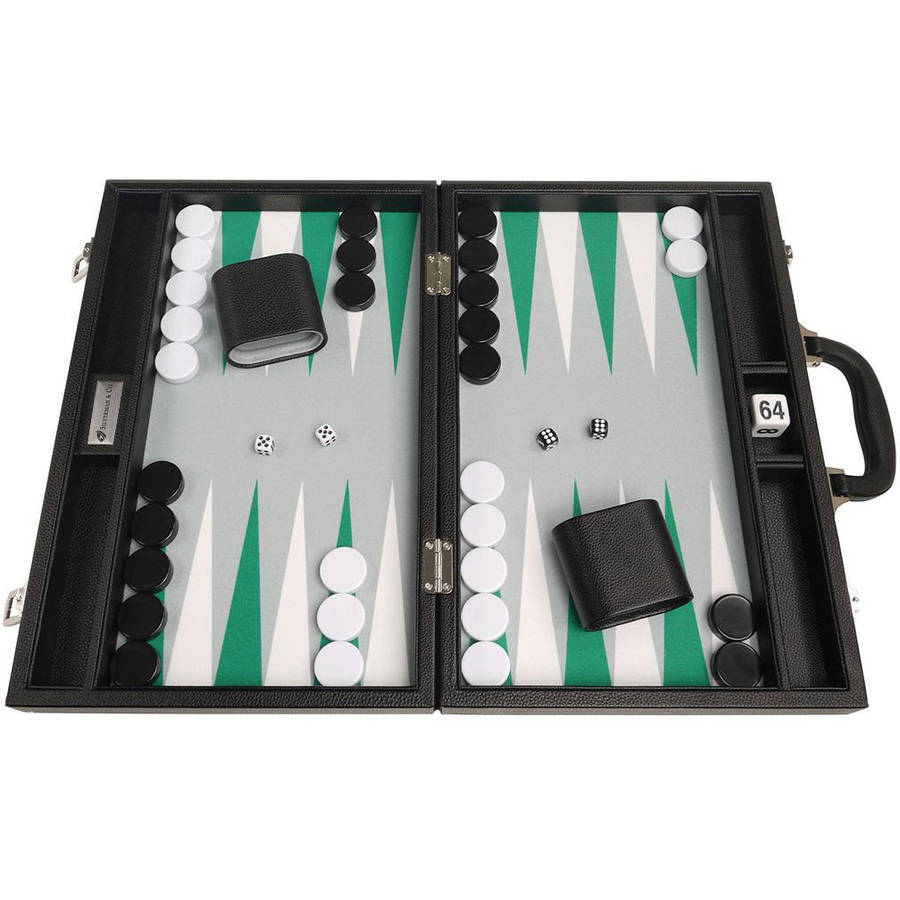 """16"""" Premium Backgammon Set, Black with White and Green Points by Silverman & Co"""