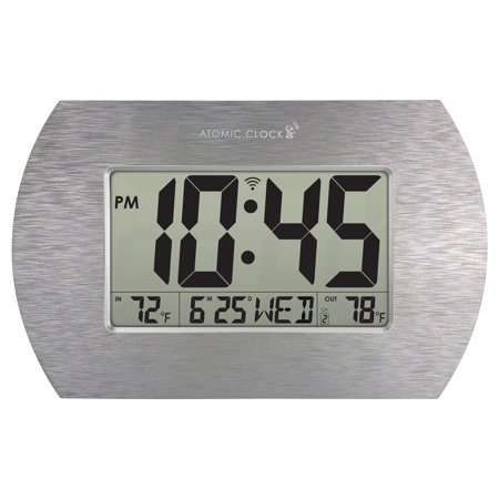 Better Homes & Gardens Digital Atomic Clock, Stainless Steel Finish ()