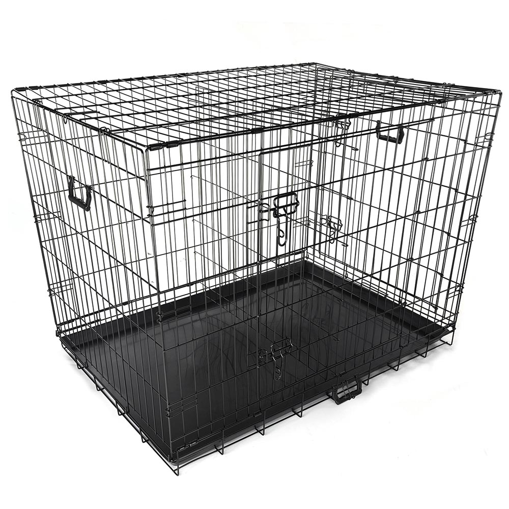 Yescom 42 2 Doors Foldable Metal Wire Dog Crate Tray Divider Cat