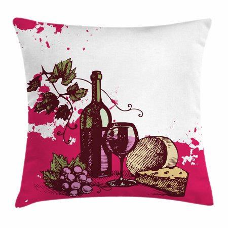 Wine Throw Pillow Cushion Cover, Vintage Sketchy Artwork Cheese Alcoholic Drink Fruit Abstract Design, Decorative Square Accent Pillow Case, 16 X 16 Inches, Hot Pink Olive Green Cream, by Ambesonne - Glow In The Dark Alcoholic Drinks