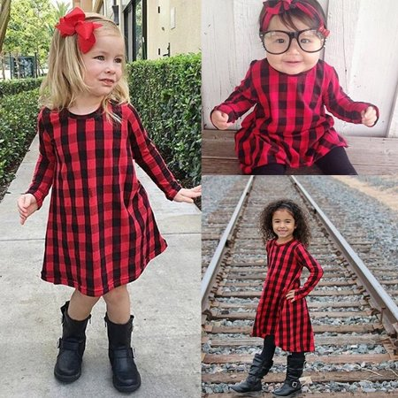 fc9d8c6ac71f Kids Infant Baby Girls Red Black Plaid Long Sleeve Dress Fall Winter ...