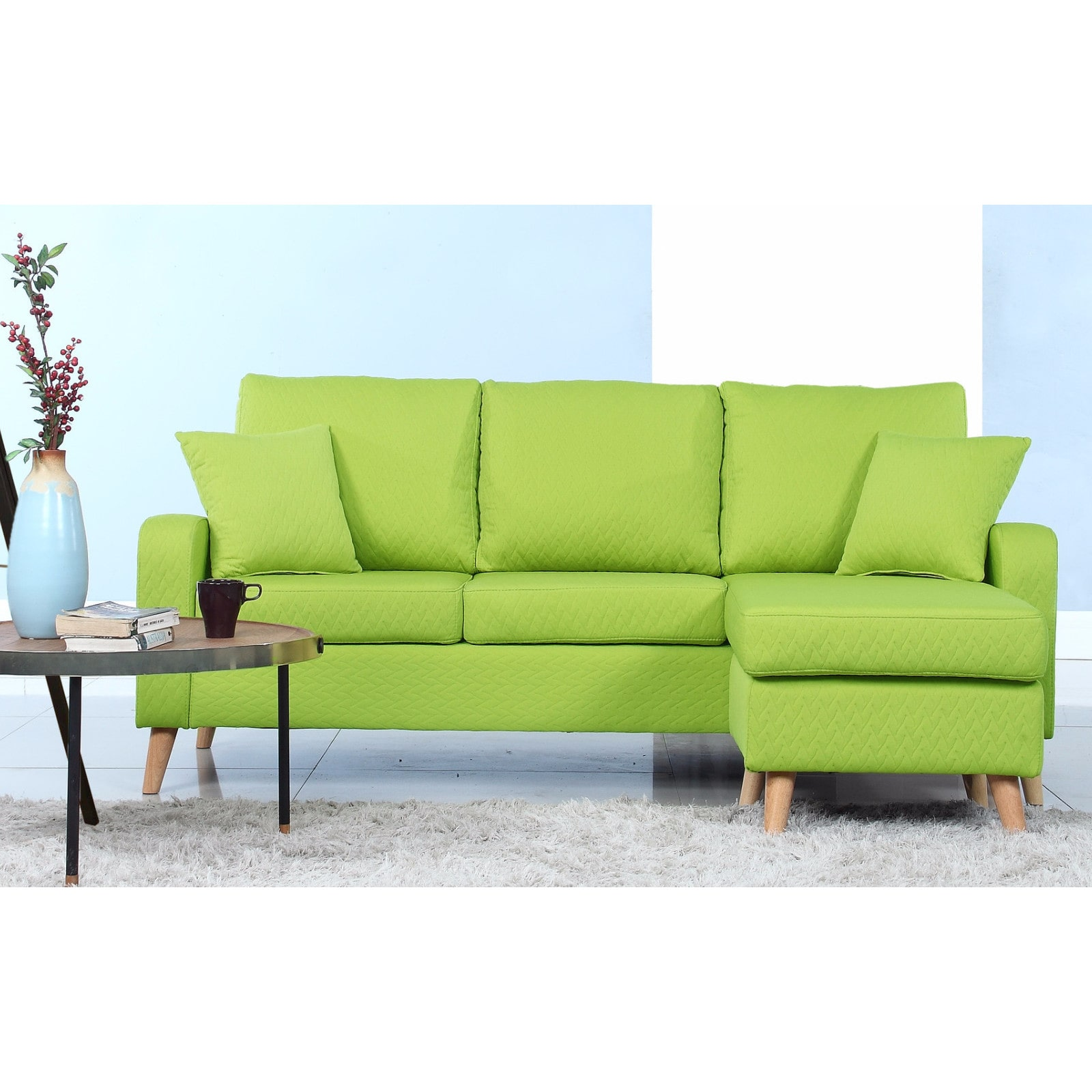 Madison Home Mid Century Modern Small Space Sectional Sofa With Reversible  Chase