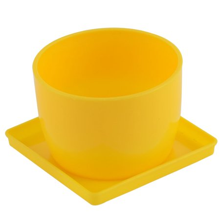 Home Patio Garden Plastic Cup Shaped Cactus Aloe Plant Flower Pot Yellow w Tray