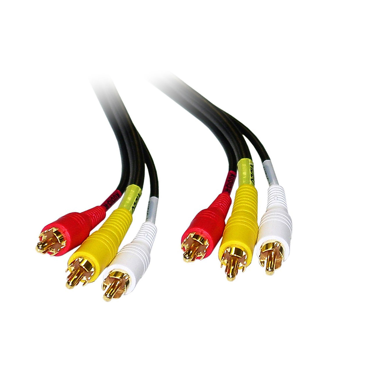 Stereo/VCR RCA Cable, 2 RCA (Audio) + RCA RG59 Video, Gold-plated Connectors, 25 Feet