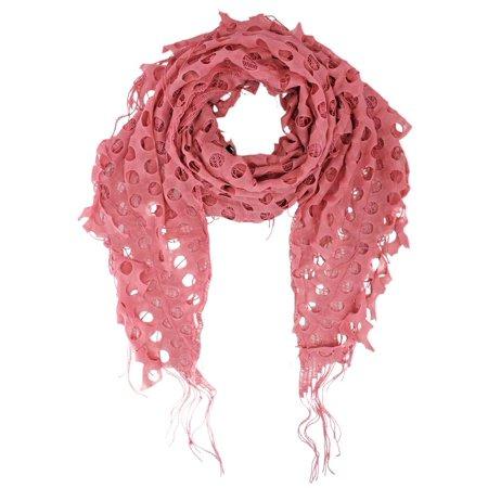 Open Knit Lace Net Fringed Shawl Scarf Wrap