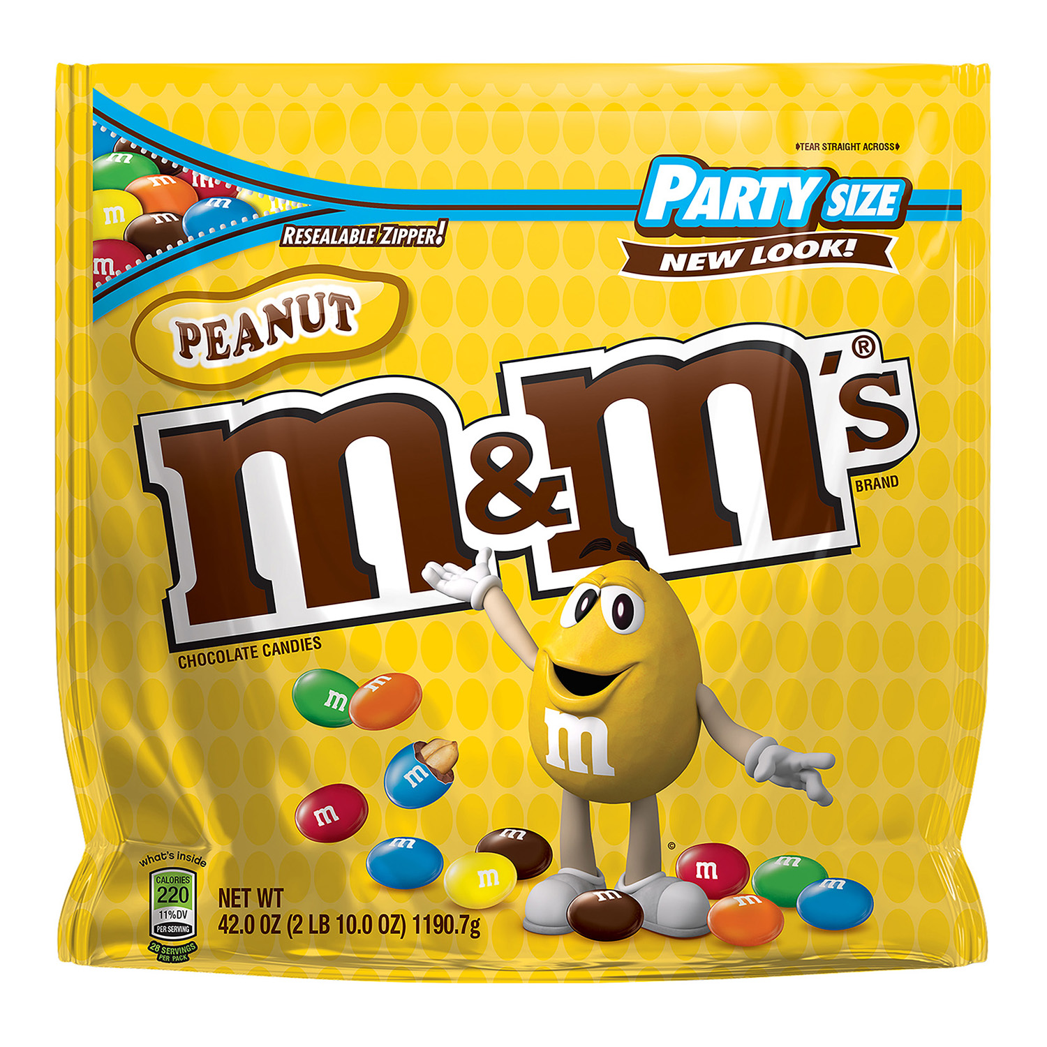 M&M's Peanut Chocolate Candy, Party Size, 42 Oz