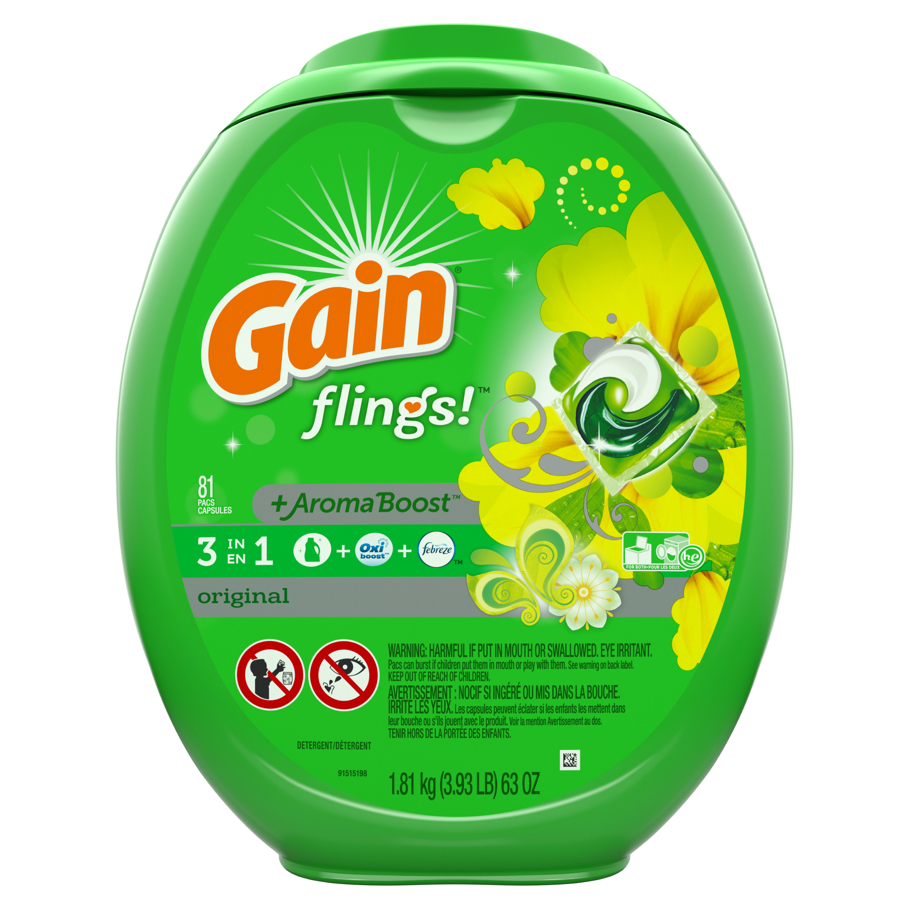Gain flings! + AromaBoost, Laundry Detergent Pacs, Original, 81 Count