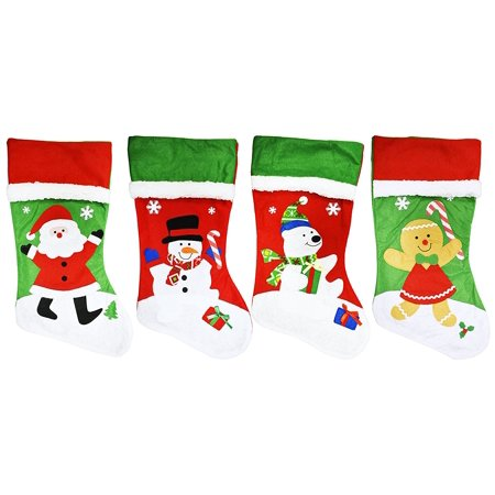 Perfect Stocking (Set of 4 Christmas Holiday Premium Embroidered 18