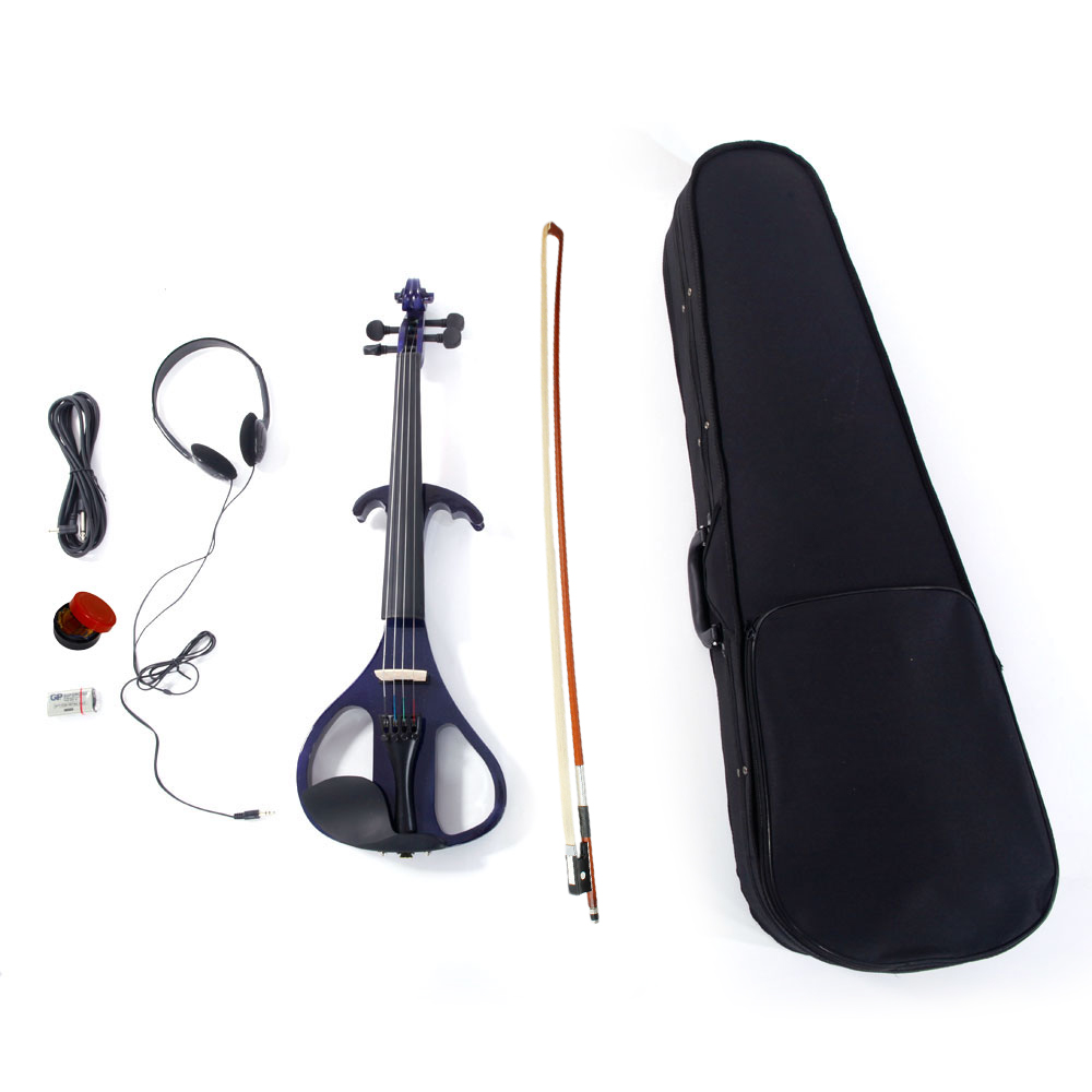 Zimtown 4/4 Solid Wood Electric/Silent Violin with Ebony Fittings in Style V-004 - Full Size