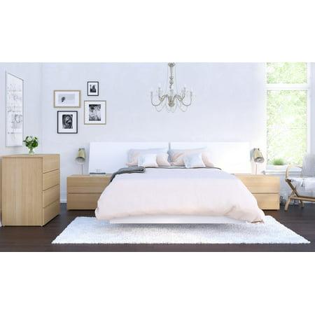 Nexera Esker 5 Piece Panoramic Bedroom Set, Natural Maple & (Bedroom Maple Bedroom Set)
