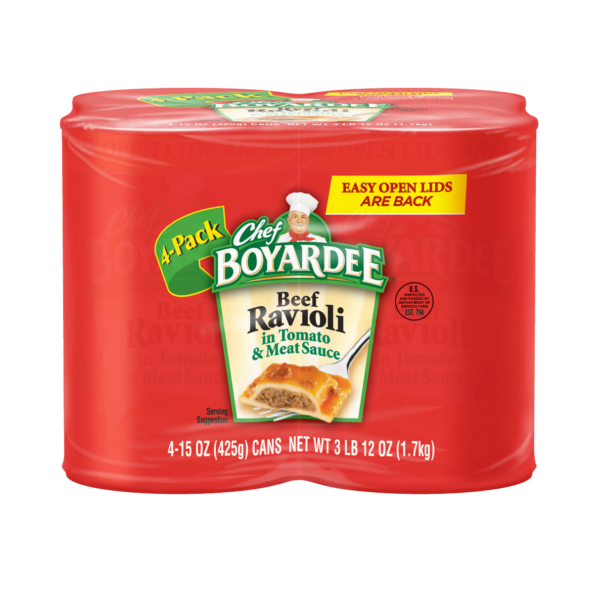 Chef Boyardee In Tomato & Meat Sauce 15 Oz Beef Ravioli, 4 Ct