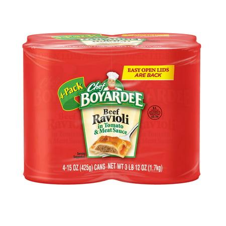 Chef Boyardee Beef Ravioli in Tomato & Meat Sauce , 15 Oz., 4 Count