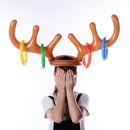 Iuhan Inflatable Reindeer Christmas Hat Antler Ring Toss Holiday Party Game Toys](Reindeer Antler Hat)
