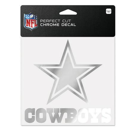 Dallas cowboys 6x6 silver chrome auto decal sticker