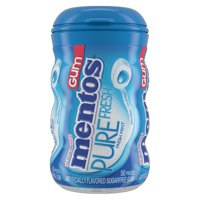 Mentos Pure Fresh Sugar-Free Chewing Gum with Xylitol, Fresh Mint, 50 Piece Bottle