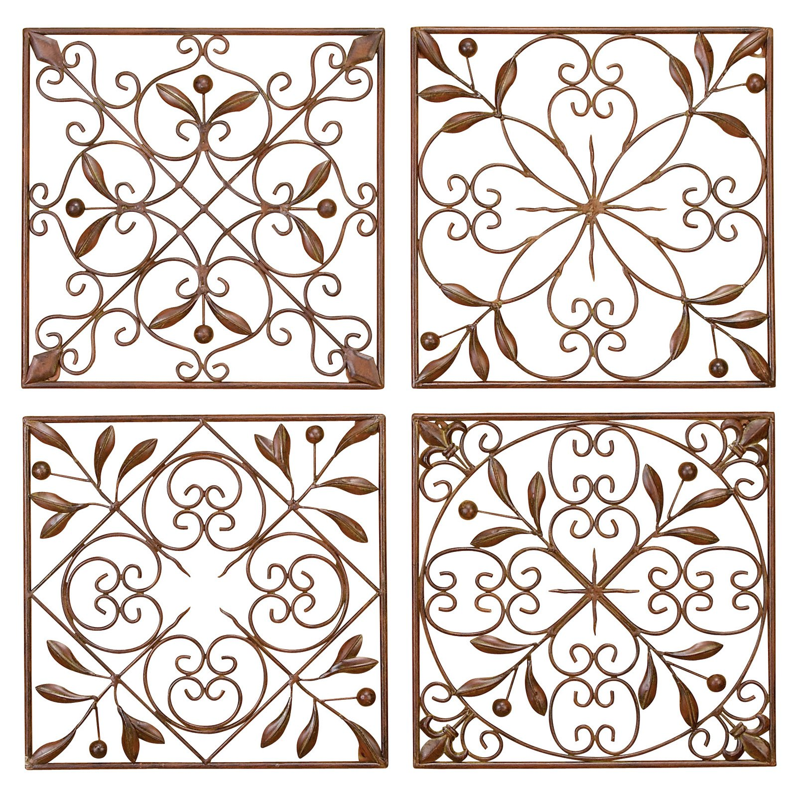 Decmode Metal Wall Decor, Set of 4, Bronze