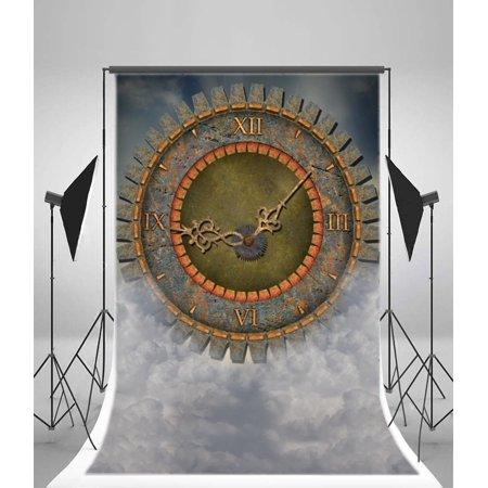 HelloDecor Polyster 5x7ft Steampunk Backdrop Vintage Old Clock Gears Dark Cloud Dreamland Photography Background Kids Children Adults Photo Studio Props