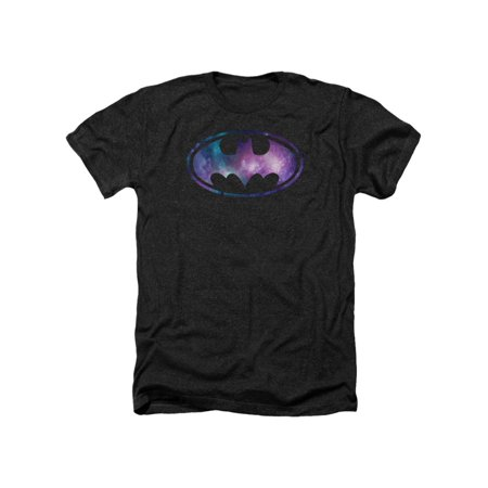 Batman Franchise Galaxy Bat Signal Purple And White Adult Heather T-Shirt Tee