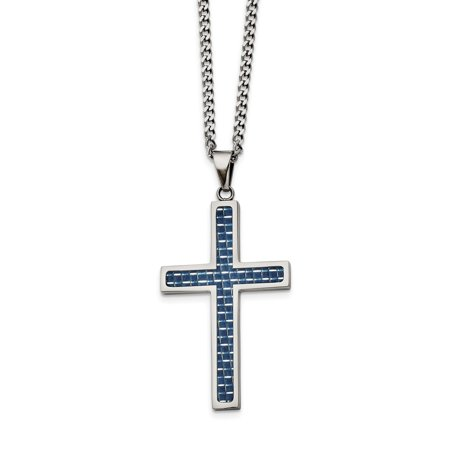 Stainless Steel Blue Carbon Fiber Inlay Polished Large Cross Necklace 22