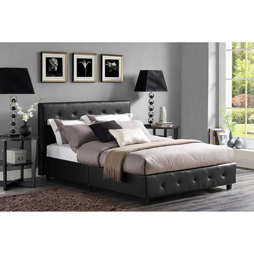 DHP Dakota Faux Leather Upholstered Bed, Multiple Colors and Sizes