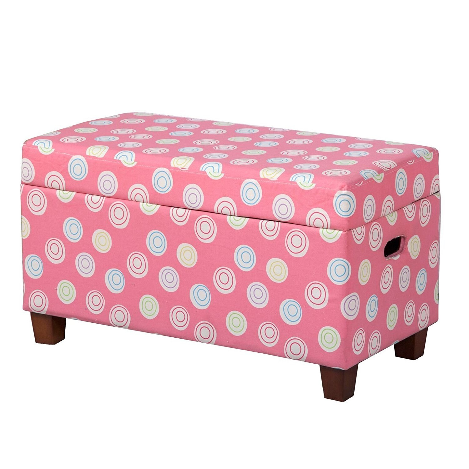 Kinfine Youth Upholstered Storage Bench with Hinged Lid, Tufted Swirls on Pink