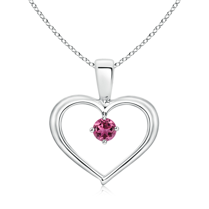 October Birthstone Pendant Necklaces Solitaire Round Pink Tourmaline Open Heart Pendant in 950 Platinum (3mm Pink... by Angara.com