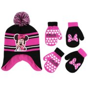 Disney Minnie Mouse Hat and 2 Pair Mittens Cold Weather Set, Toddler Girls, 2-4