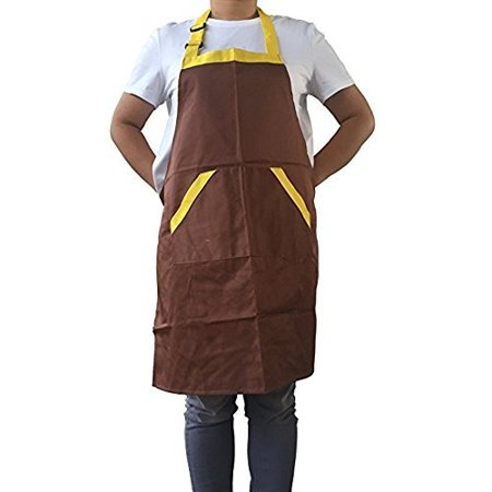 - Novo Waterproof Work Apron Chef Apron with Pockets Polyester Cotton Garden Tool Apron, 28-Inchx26-Inch (Coffee) for Working,Gardening,Kicthen Cooking,Harvest,Coffee Shop