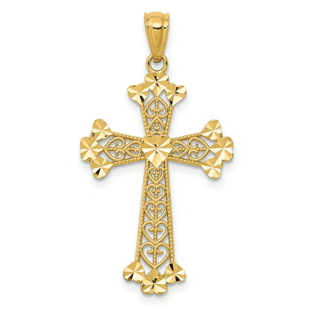14k Yellow Gold Filigree Hearts Cross Religious Pendant Charm Necklace Gifts For Women For Her