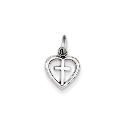 14K White Gold Cross Inside Open Heart Charm 16x10mm