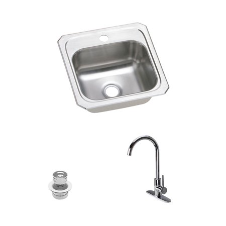Elkay KF-BCR151 15-in L x 15-in W Stainless Steel 1 Hole Single Bowl Drop-in Bar Sink - 1 Hole 1 Bowl