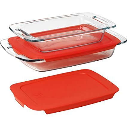 4-Piece Glass Bakeware Set2 qt oblong baking dish with lid By Pyrex by