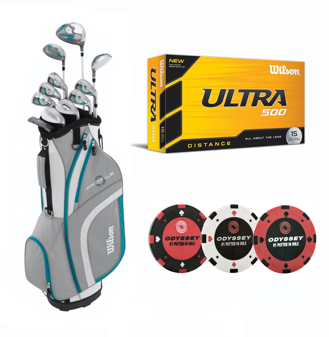 Wilson Complete Women's Standard Golf Set (Teal Blue, Right Hand) with Golf Ball