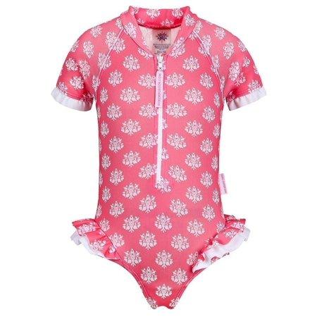 Sun Emporium Baby Girls Coral Indian Damask Print Frill Swimsuit Zuni Indian Coral