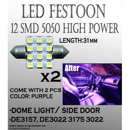 JDM 2 x Purple 31mm DE3175 DE3022 12-SMD LED Bulbs For Dome Light ()