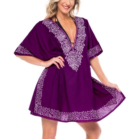 Beach Bath Wear Summer Holiday Rayon Loose Embroidered Bikini Cover Up Mini Dress Violet_N693