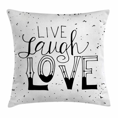 Live Laugh Love Decor Throw Pillow Cushion Cover Quote Hand Drawn Inspiration Hipster Decorative Pillows