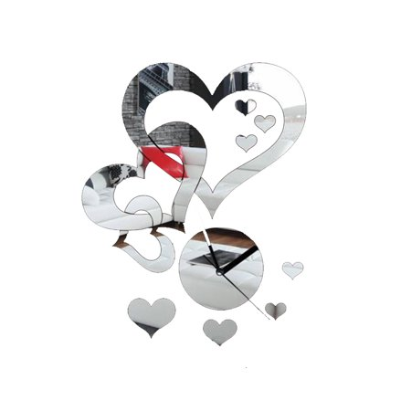 Homeholiday Heart to Heart Mirror Sticker Clock Acrylic DIY Wall Clock Decals Home Decoration Crystal Mirror Wallpaper - image 1 of 4