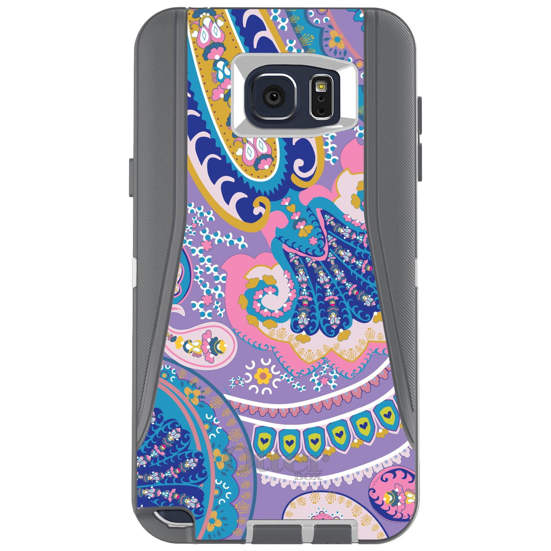 DistinctInk™ Custom Grey OtterBox Defender Series Case for Samsung Galaxy Note 5 - Purple Pink Blue Paisley