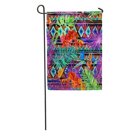 NUDECOR Tribal Pattern Tropical for Exotic Leaves and Orchid Flowers Garden Flag Decorative Flag House Banner 28x40 inch - image 2 of 2