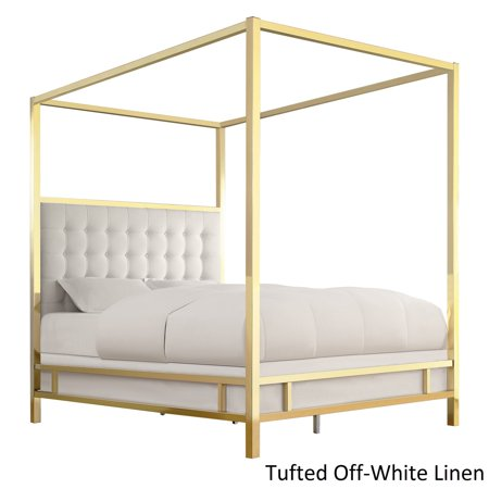 Inspire Q Solivita Full Sized Canopy Gold Metal Poster Bed