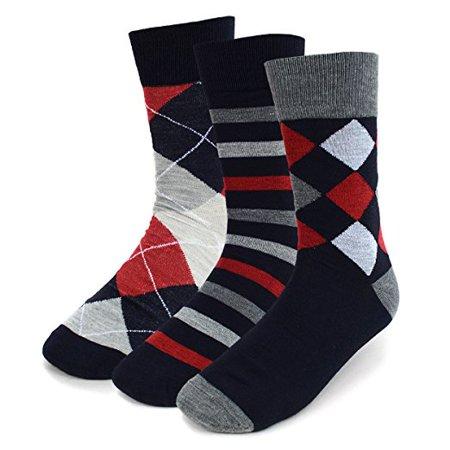 Men's 3-Pair University Red Dress Socks (3PKS/GRY2)