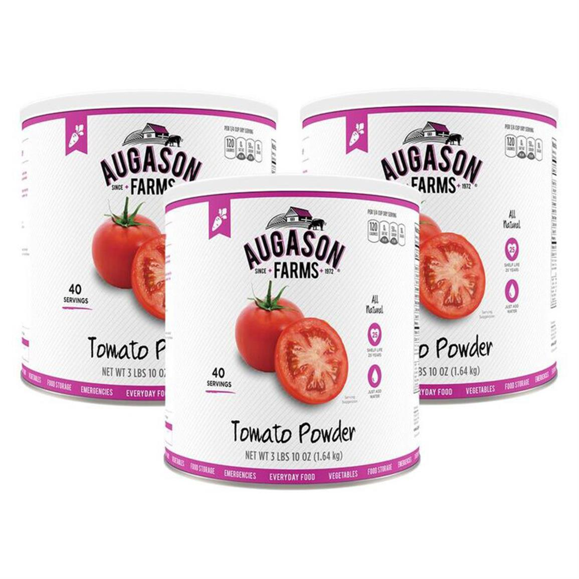 Augason Farms Dehydrated Tomato Powder Vegetable 3 Cans Combo by